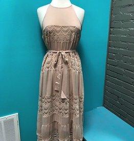 Dress Blush Halter Midi Dress w/ Lace