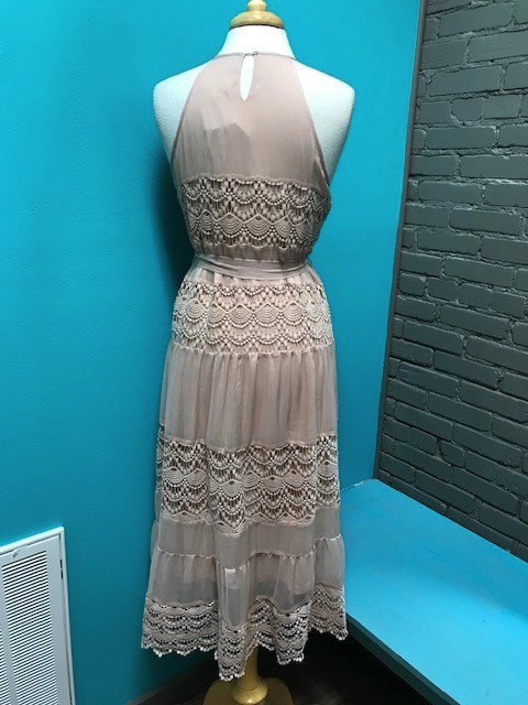 Dress Blush Halter Midi Dress w/ Lace