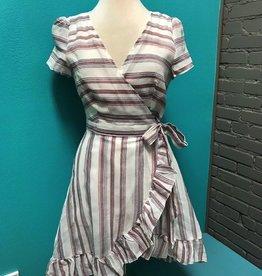 Dress Burg Stripe Wrap Dress