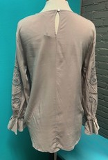Long Sleeve Embroidered LS Woven Top