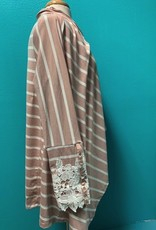 Poncho Blush Striped Poncho w/ Embroidered Sleeve