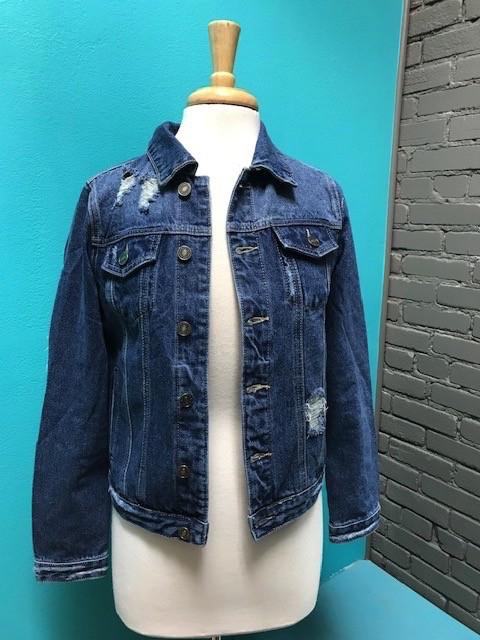 Jacket Distressed Denim Jacket