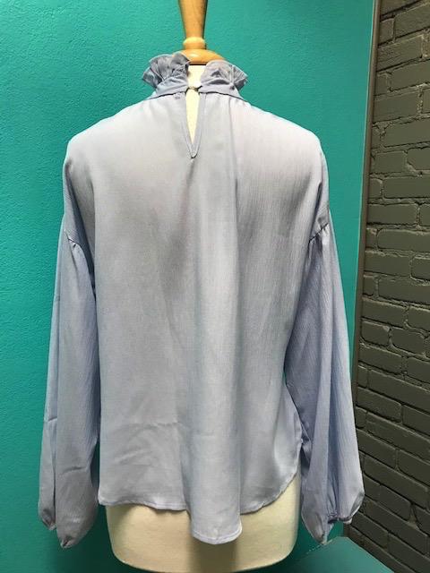 Long Sleeve Blue Ruffle High Neck LS