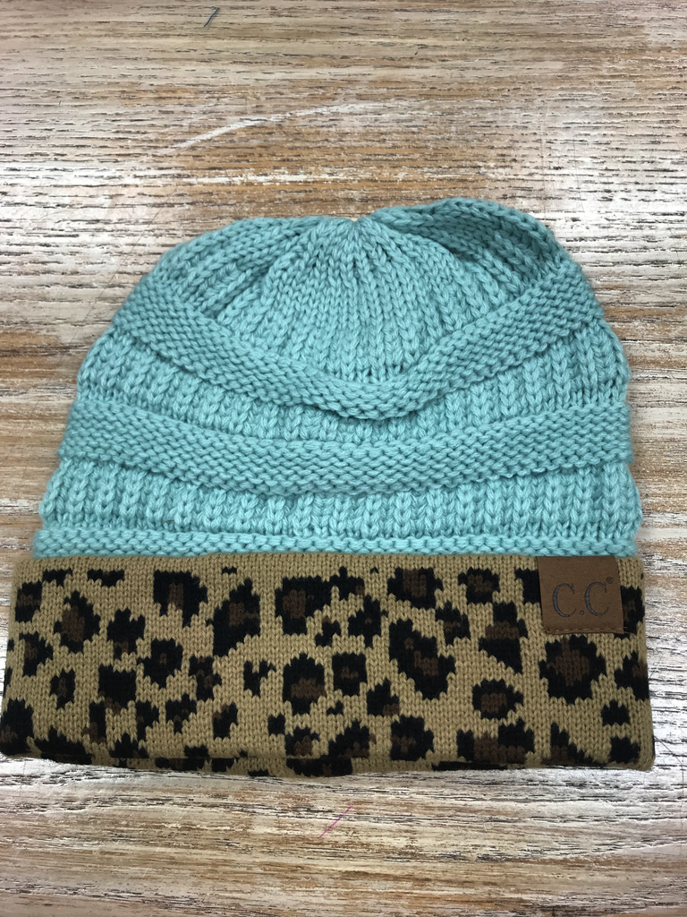 Beanie Mint Beanie with Leopard print