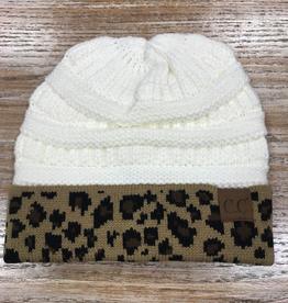 Beanie Ivory Beanie with Leopard print