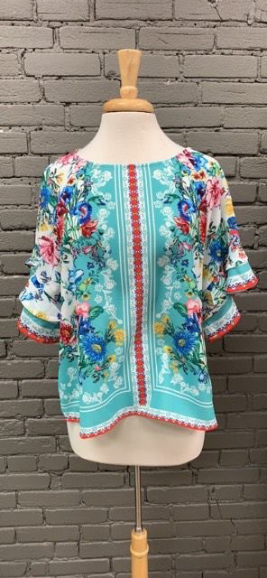 Blouse Floral Scarf Print Round Neck Top