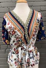 Top Floral Short Ruffle Sleeve w/ Elastic Waist