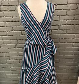 Dress Navy Sleeveless Striped Dress w/ Side Tie