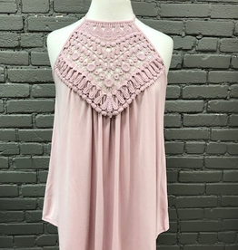 Tank Blush Tank w/ Crochet Detail
