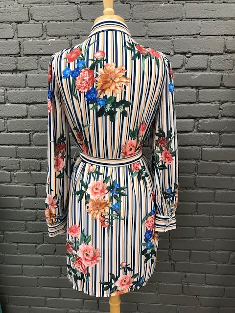 Dress Floral Stripe Print Dress