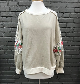Long Sleeve Taupe Lace LS w/ Embroid