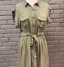 Dress Button Down Sleeveless Shirt Dress