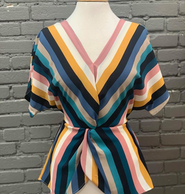 Top Twisted Multi Color Striped Top