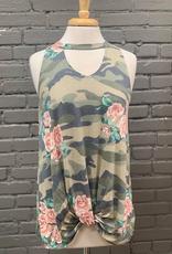 Tank Floral Camo Twist Knot Choker Top