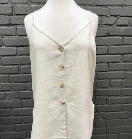 Tank Linen Button Adjust Strap Tank
