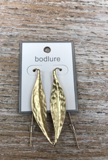 Jewelry Gold Hammered Leaf Earrings
