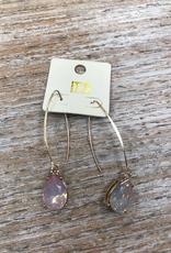 Jewelry Long Dangle Pink Gem Earrings