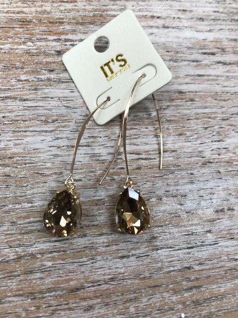 Jewelry Long Dangle Brn Gem Earrings