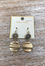 Jewelry Gold Disc w/ Bead Earrings