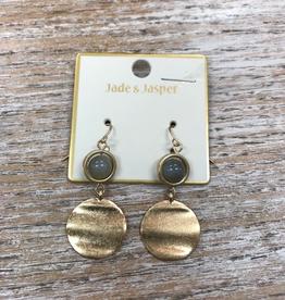 Jewelry Gold Disc w/ Bead Earrings