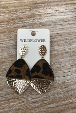 Jewelry Leopard Hammered Gold Earrings