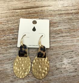 Jewelry Hammered Disc w/ Leopard Earrings