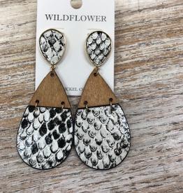 Jewelry Wood/Snakeskin Earrings