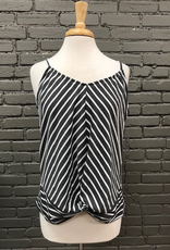 Tank Gray Striped Knot Tank
