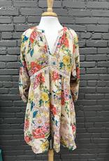 Dress Floral Print Crochet Dress