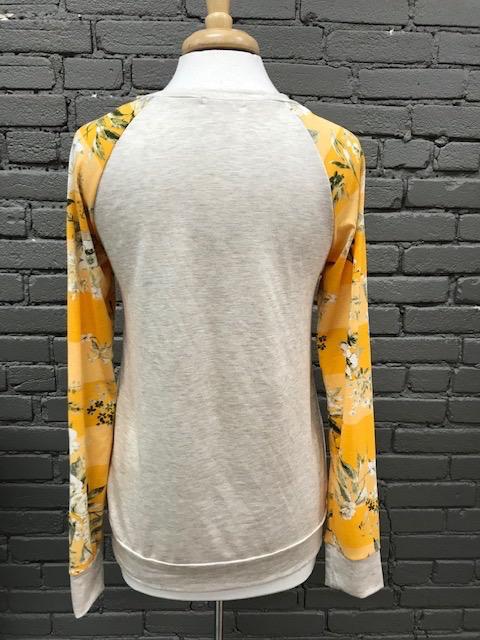Long Sleeve Oatmeal Mango Print Sleeves