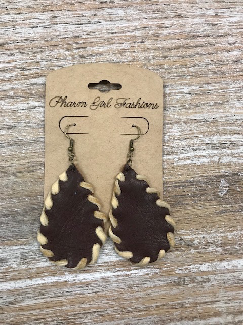 Jewelry Whipstitch Leather Earrings