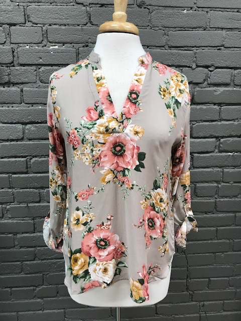 Long Sleeve Taupe Floral LS