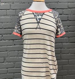 Shirt Striped shirt w/ cheetah sleeves