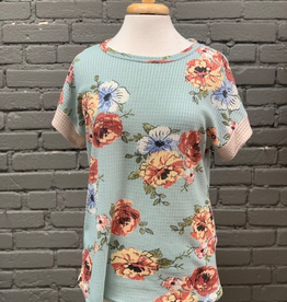 Shirt Floral Waffle Knit Top