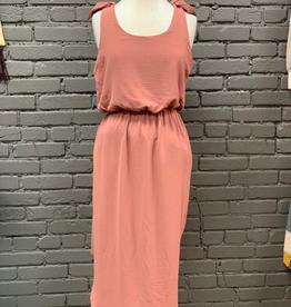 Dress Sleeveless Woven Dress w/ Shoulder TIes