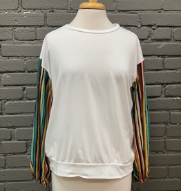 Shirt LS Top w/ Rainbow sleeves