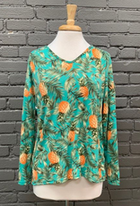 Shirt Pineapple Print Off The Shoulder w/ Twisted Back