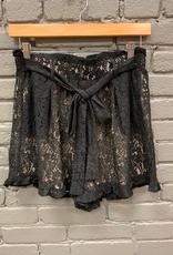 Shorts Black Lace Ruffle Belted Shorts