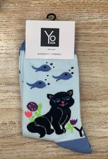 Socks Women's Crew Socks, Cat&Fish