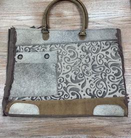 Bag Hide And Floral Print Weekender Bag