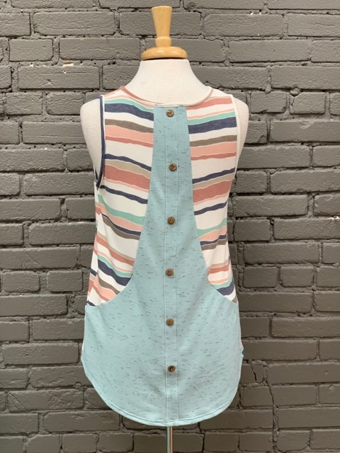 Tank Multi Color Stripe Tank w/ Back Button Detail