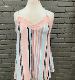 Cami Pink Multi Stripe Cami w/ Lace
