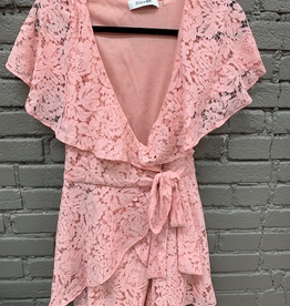 Romper Pink Wrap Style Lace Romper
