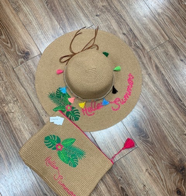Hat Hello Summer Floppy Hat Set w/ Bag