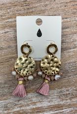Jewelry Gold Hammered Bead/Tassel Earrings