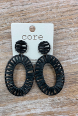 Jewelry Black Cord Hoop Earrings