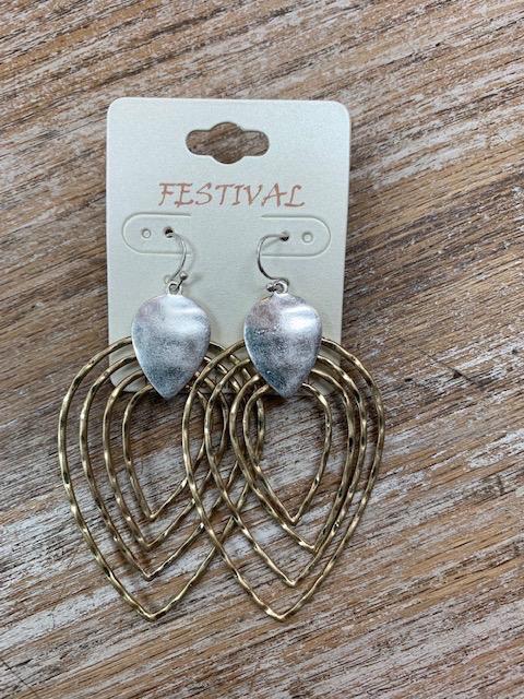 Jewelry Gold Multi Teardrop Earrings