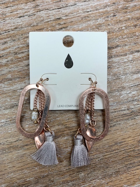 Jewelry Rose Gold Tassel Hoop Earrings