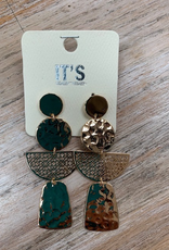 Jewelry Gold Multi Shape Dangle Earrings