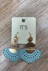 Jewelry Teal Leather Dangle Earrings